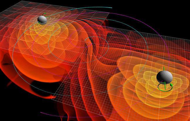 Représentation des ondes gravitationnelles émises par la fusion de deux trous noirs.