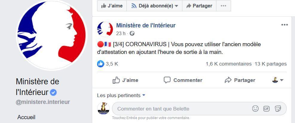 Capture facebook ministre interieur