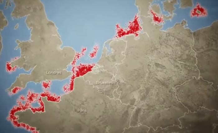 Carte de versements armes en mer du nord v 1