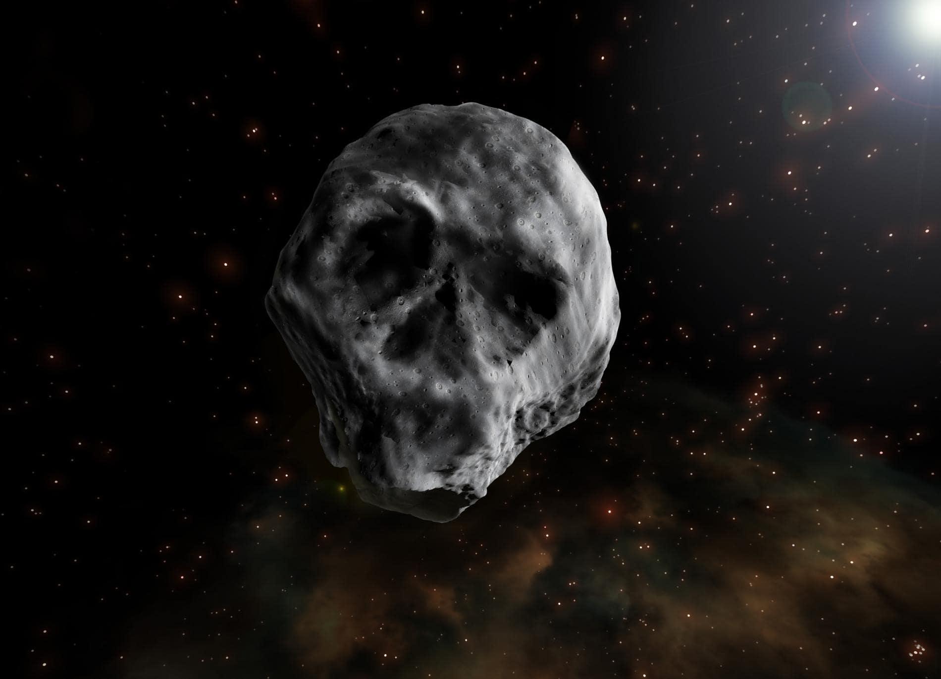 El asteroide que recuerda a una calavera
