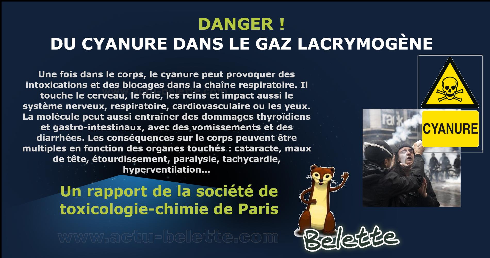 Gaz lacrymogene danger cyanure