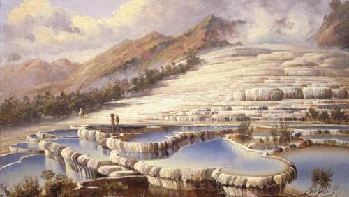 Peinture à l'huile des Terrasses Blanches du lac Rotomahana signée Charles Blomfield. (Charles Blomfield)
