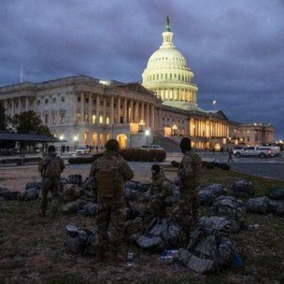 Soldats garde nationale protegent acces congres americain 17 janvier 2021 washington 0