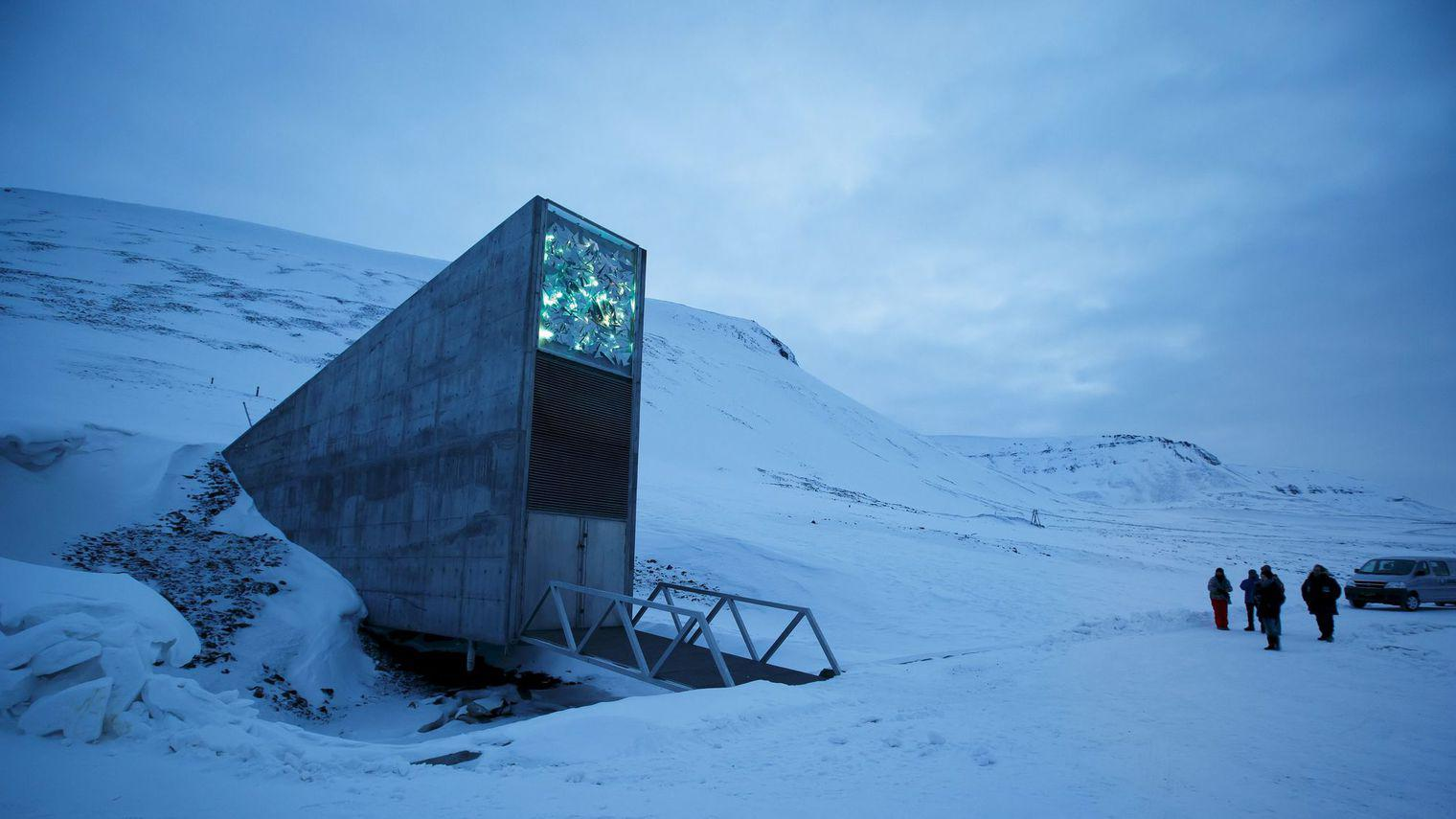 The entrance to the international gene bank svalbard global seed vault sgsv is pictured outside longyearbyen on spitsbergen norway 5857273